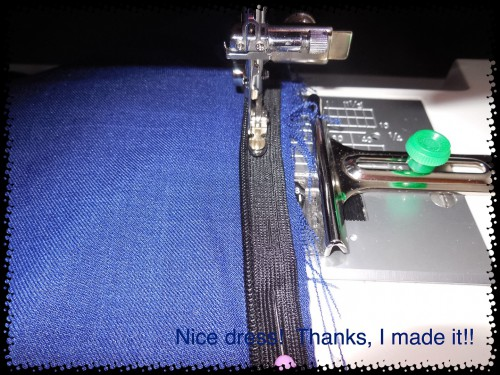"""I sewed my invisible zipper on with my Singer zipper foot, then thought I would try to sew it closer with my """"Universal"""" invisible zipper foot. Oops! I forgot to use a narrow strip of interfacing this time."""